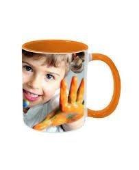 Caneca cerâmica branca com interior/alça laranja 300ml personalizada