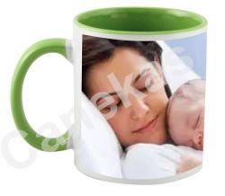 Caneca cerâmica branca com interior/alça verde 300ml personalizada