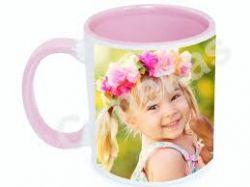 Caneca cerâmica branca com interior/alça rosa 300ml personalizada