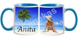 Caneca cerâmica branca com interior/alça azul claro 300ml personalizada