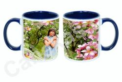 Caneca cerâmica branca com interior/alça azul escuro 300ml personalizada