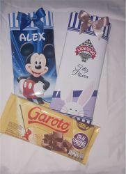 Barra de Chocolate (aprox 100g)  com Embalagem Personalizada